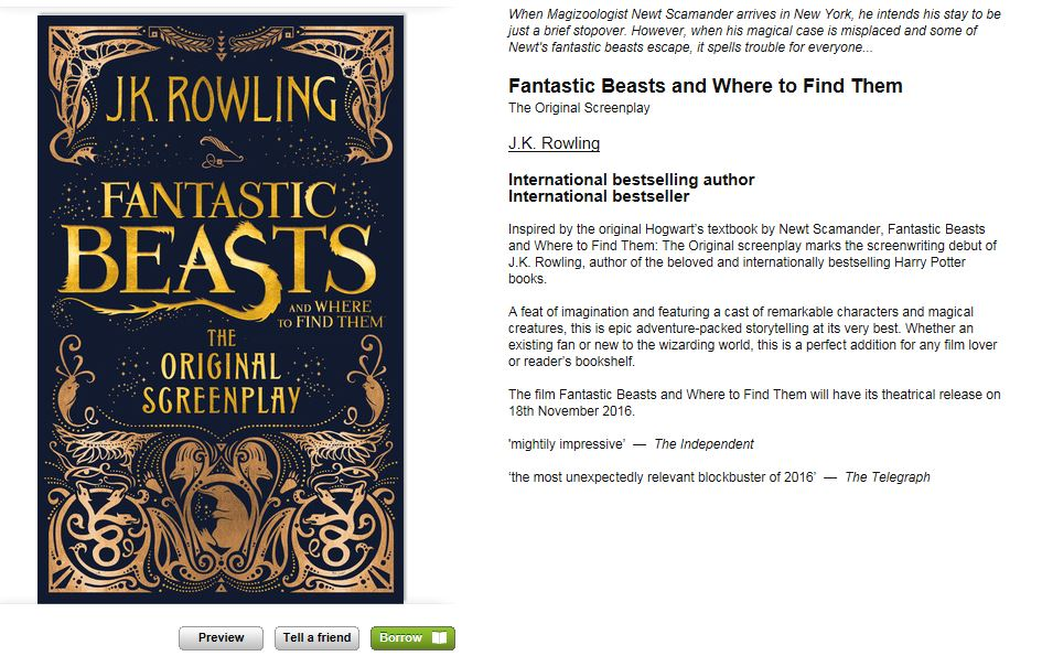 Borrowbox Fantastic Beasts and where to find them