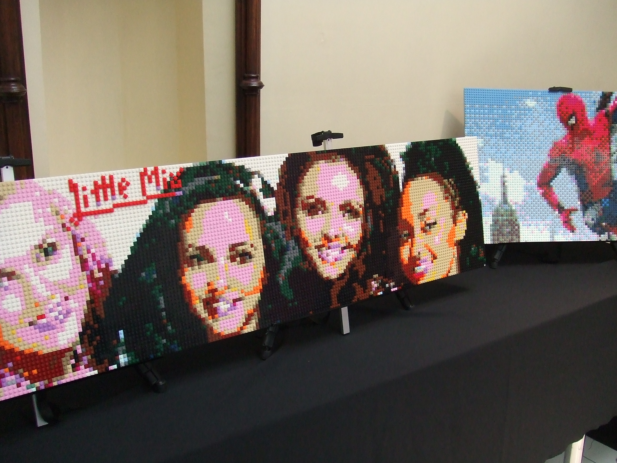 Birr Library Lego Exhibtion - Little Mix by David Fennell and Spiderman by Amy Fennell.JPG