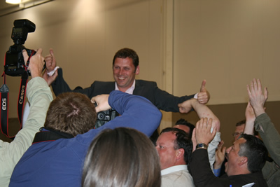 Barry Cowan celebrates getting elected